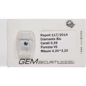 DIAMANTE ROUND BLU 0.39 CARATI VS - LOTTO 0.20 0.50 0.75 1.0