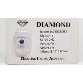 DIAMANTE ROUND BLU 0.62 CARATI VS - LOTTO 0.20 0.50 0.60 0.75 1.0