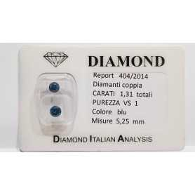 DIAMANT ROND BLEU 1.31 CARAT AU TOTAL VS1 - LOTTO 0.75 1.0 1.20 1.30