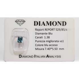 DIAMANTE EMERALD BLU 1.38 CARATI TOTALI VS1 - LOTTO 0.75 1.0 1.20 1.30