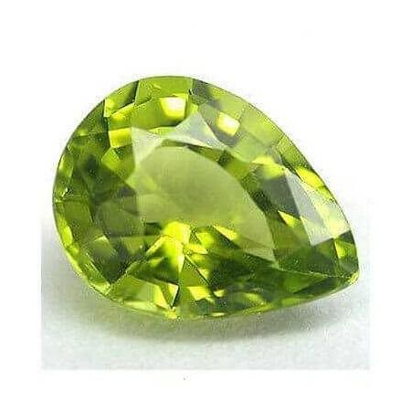 Peridot drop cut 0.68 carat 4.96 x 7.58 mm