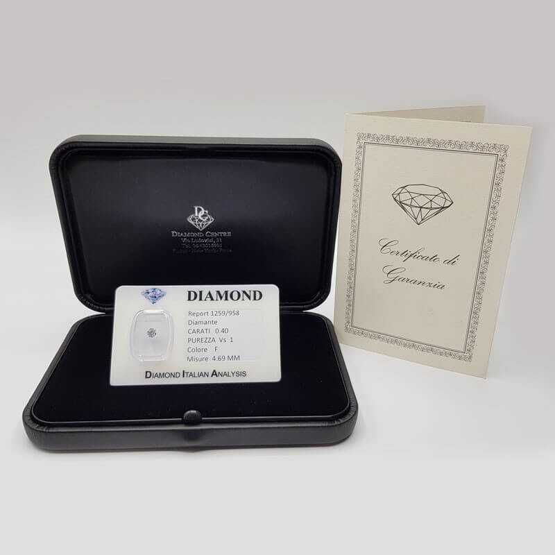 DIAMOND SOLITAIRE Blister Certificate 0.40 ct VS1 F - OFFER!