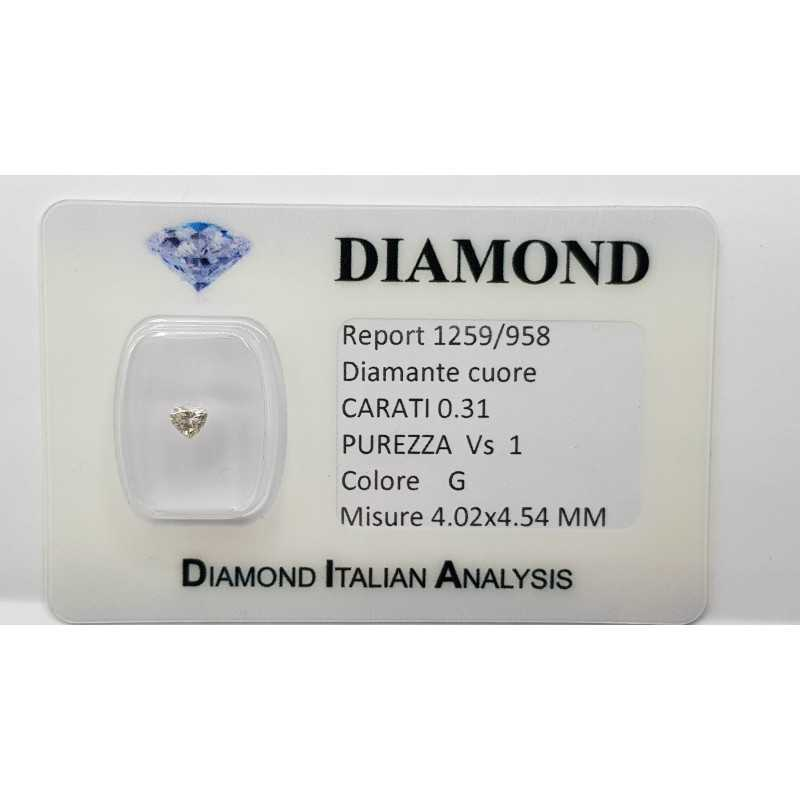 DIAMANTE CUORE in Blister Certificato 0.31 ct VS1 G 4.02 x 4.54 mm