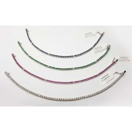 TENNIS bracelet in White Gold 18 kt purity Diamonds vs color F and gems