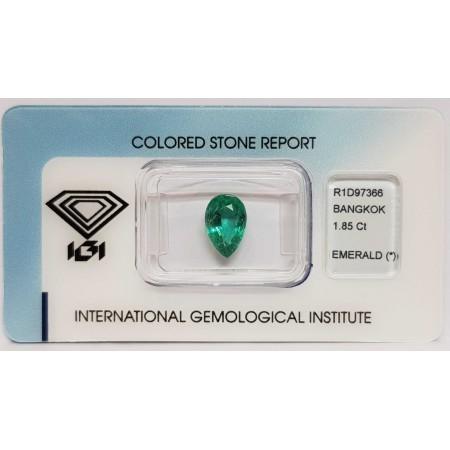 Emerald drop 1.85 ct certified in Blister - IGI