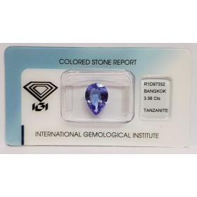 TANZANITE DROP 3.56 ct BLISTER CERTIFICATE IGI - R1D97352