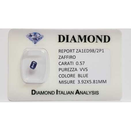 Emerald cut sapphire 0.57 carats in certified BLISTER