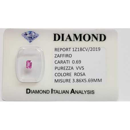 Emerald cut pink sapphire 0.69 CT in certified BLISTER