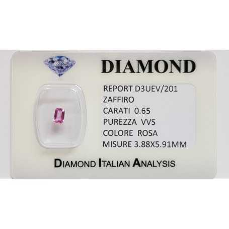 Emerald cut pink sapphire 0.65 CT in certified BLISTER
