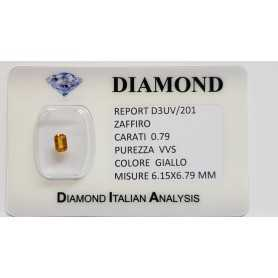 YELLOW SAPPHIRE CUT EMERALD 0.79 CT BLISTER CERTIFICATE