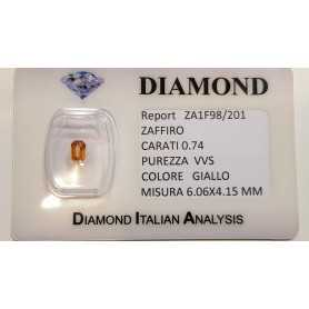 YELLOW SAPPHIRE CUT EMERALD 0.74 CT BLISTER CERTIFICATE