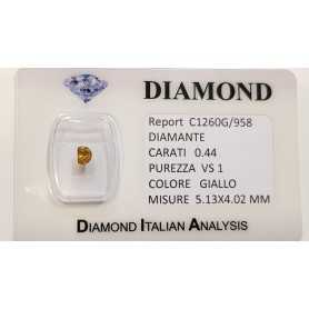 YELLOW DIAMOND CUT FANCY 0.44 CT BLISTER CERTIFICATE