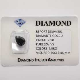 BLACK DIAMOND DROP 2.98 CARATS, VS clarity, BLISTER CERTIFICATE