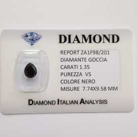 BLACK DIAMOND DROP 1.35 CT pureté VS, BLISTER de CERTIFICAT