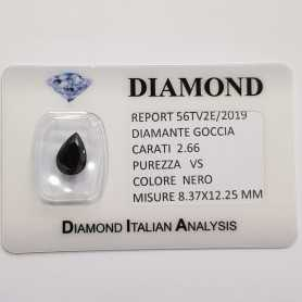 BLACK DIAMOND DROP 2.66 CARATS, pureté VS, BLISTER de CERTIFICAT