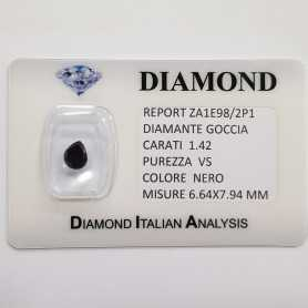 BLACK DIAMOND DROP 1.42 CARATS, pureté VS, BLISTER de CERTIFICAT