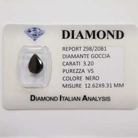 BLACK DIAMOND DROP 3.20 CT pureté VS, BLISTER de CERTIFICAT