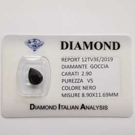BLACK DIAMOND DROP 2,90 CARATS, pureté VS, BLISTER de CERTIFICAT