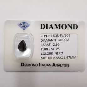 BLACK DIAMOND DROP 2.96 CARATS, pureté VS, BLISTER de CERTIFICAT