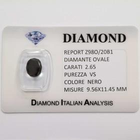 BLACK DIAMOND OVAL 2.65 CARAT VS clarity, BLISTER CERTIFICATE