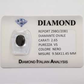 DIAMANTE NERO OVALE 2.65 CARATI PUREZZA VS in BLISTER CERTIFICATO