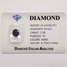 DIAMANTE NERO OVALE 2.28 CARATI PUREZZA VS in BLISTER CERTIFICATO