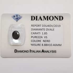 DIAMANTE NERO OVALE 1.85 CARATI PUREZZA VS in BLISTER CERTIFICATO