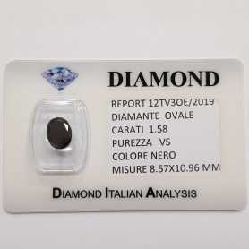 DIAMANTE NERO OVALE 1.58 CARATI PUREZZA VS in BLISTER CERTIFICATO