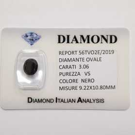 DIAMANTE NERO OVALE 3.06 CARATI PUREZZA VS in BLISTER CERTIFICATO