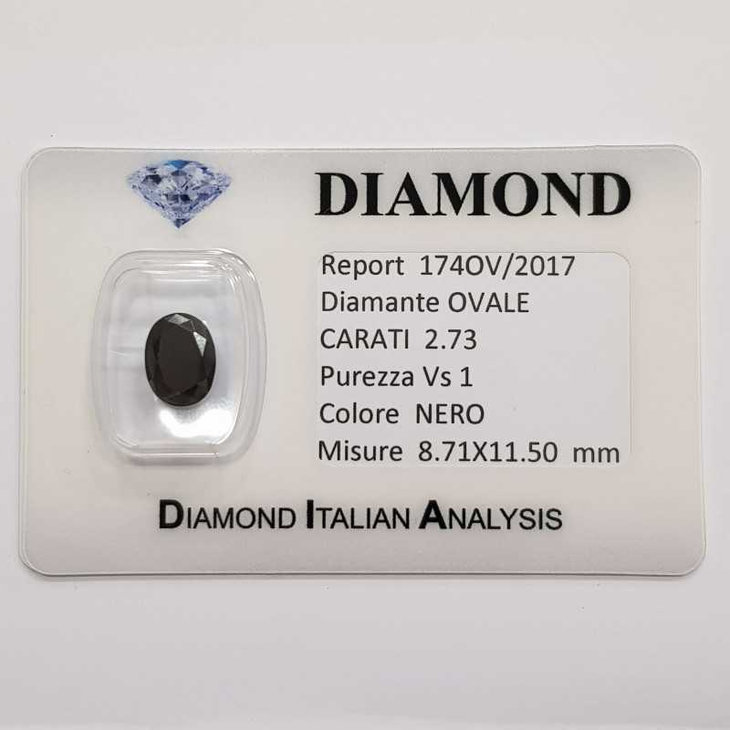 DIAMANTE NERO OVALE 2.73 CARATI PUREZZA VS1 in BLISTER CERTIFICATO