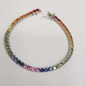 TENNIS BRACELET in White Gold 18 kt multi-colored SAPPHIRES 1.02 ct Total VS clarity