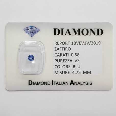 Blue sapphire round cut 0.58 carat in certified BLISTER