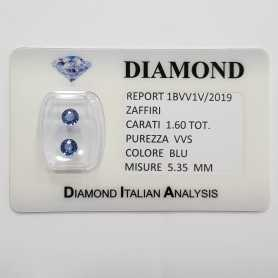BLUE SAPPHIRE ROUND CUT 1.60 CARAT Total BLISTER CERTIFICATE