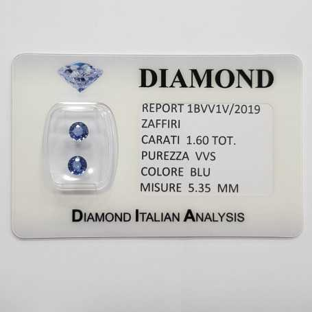Blue sapphires round cut 1.60 carats total in certified BLISTER