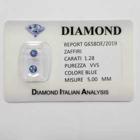 BLUE SAPPHIRE ROUND CUT 1.28 CARAT Total in BLISTER CERTIFICATE