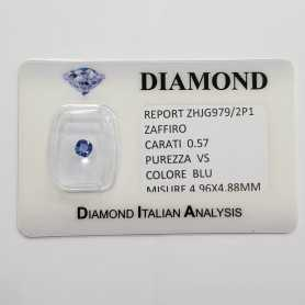 BLUE SAPPHIRE CUT RADIANT 0.57 CARAT in BLISTER CERTIFICATE