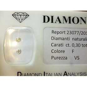 DIAMANTE 0.30 CARATI LA COPPIA F COLOR VS - LOTTO 0,50 0.75