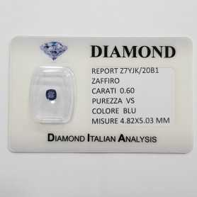 BLUE SAPPHIRE CUT RADIANT 0.60 CARAT in BLISTER CERTIFICATE