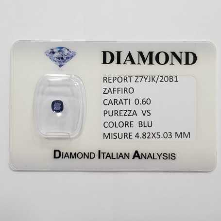 Blue sapphire RADIANT cut 0.60 carats in certified BLISTER