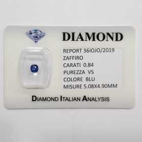 BLUE SAPPHIRE CUT RADIANT 0.84 CARAT in BLISTER CERTIFICATE