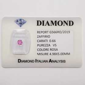 CUT PINK SAPPHIRE RADIANT 0.66 CT BLISTER CERTIFICATE