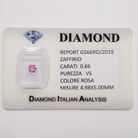 Radiant cut pink sapphire 0.66 CT in certified BLISTER