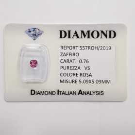 CUT PINK SAPPHIRE RADIANT 0.76 CT BLISTER CERTIFICATE