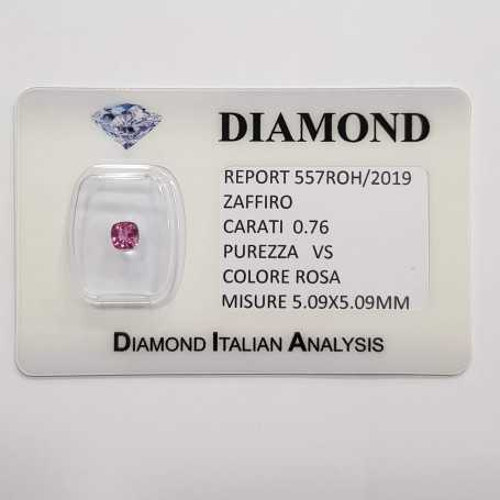 Radiant cut pink sapphire 0.76 CT in certified BLISTER