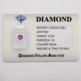 CUT PINK SAPPHIRE RADIANT 0.55 CT BLISTER CERTIFICATE