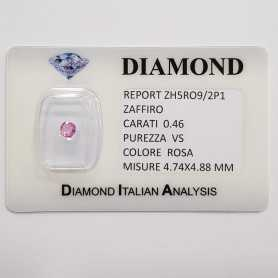 CUT PINK SAPPHIRE RADIANT 0.46 CT BLISTER CERTIFICATE