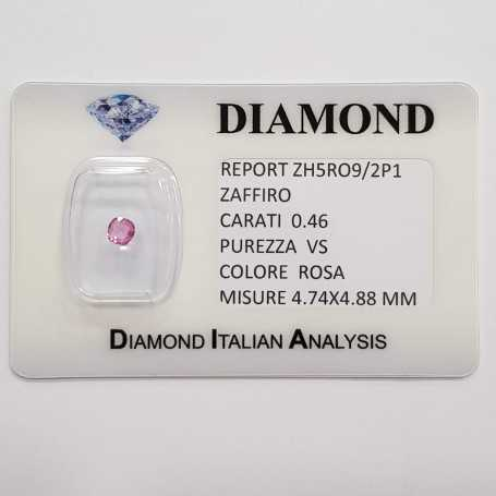 RADIANT cut pink sapphire 0.46 CT in certified BLISTER