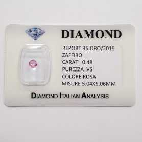 CUT PINK SAPPHIRE RADIANT 0.48 CT BLISTER CERTIFICATE