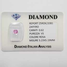 CUT PINK SAPPHIRE RADIANT 0.62 CT BLISTER CERTIFICATE