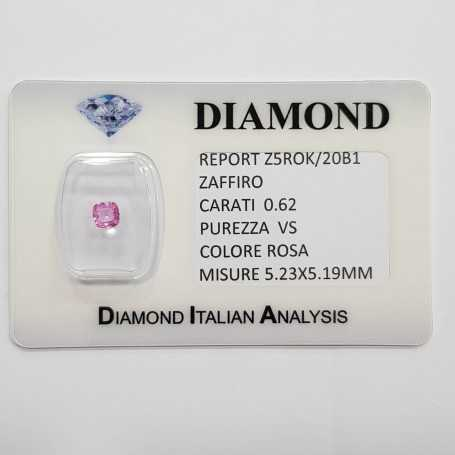 Radiant cut pink sapphire 0.62 CT in certified BLISTER
